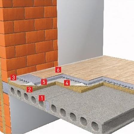 Звукоизоляция перекрытия из цементно-песчаной армированной стяжкой